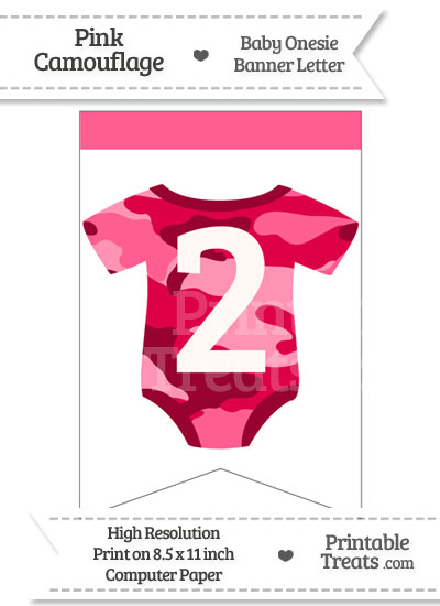 Pink Camo Baby Onesie Bunting Banner Number 2 from PrintableTreats.com
