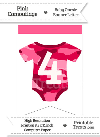 Pink Camo Baby Onesie Bunting Banner Number 4 from PrintableTreats.com