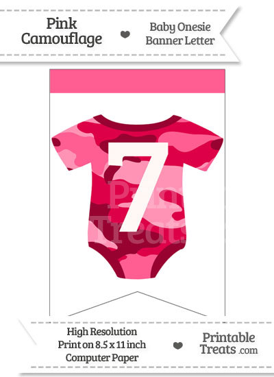 Pink Camo Baby Onesie Bunting Banner Number 7 from PrintableTreats.com