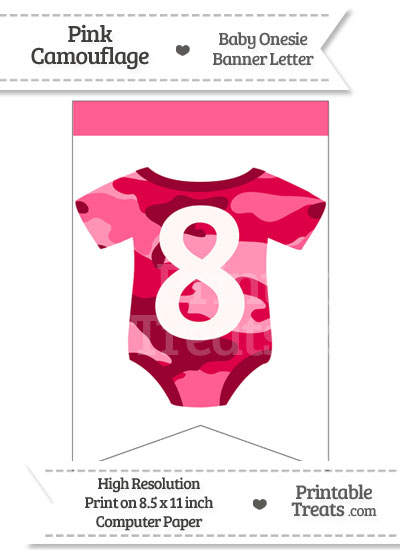 Pink Camo Baby Onesie Bunting Banner Number 8 from PrintableTreats.com