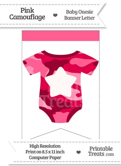 Pink Camo Baby Onesie Bunting Banner Star End Flag from PrintableTreats.com