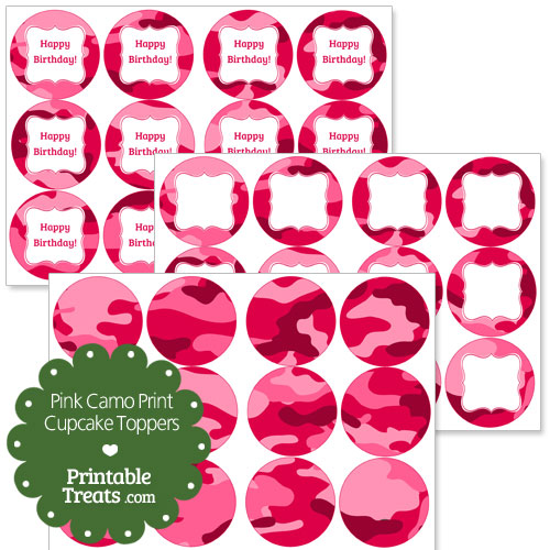 pink camo cupcake toppers