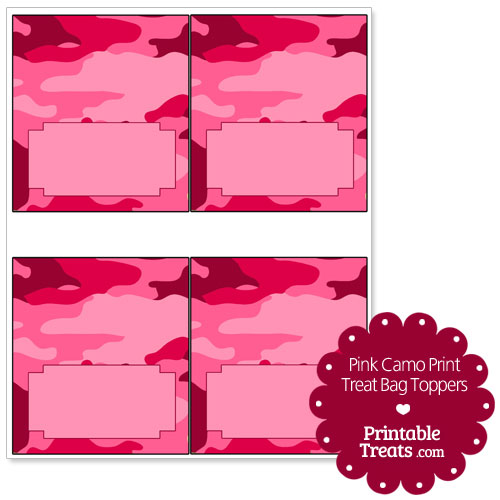 pink camo print treat bag toppers