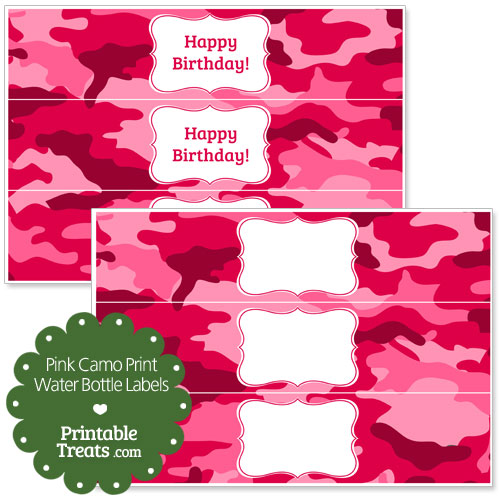 pink camo water bottle labels