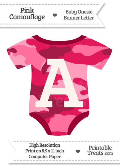 Pink Camouflage Baby Onesie Shaped Banner Letter A from PrintableTreats.com
