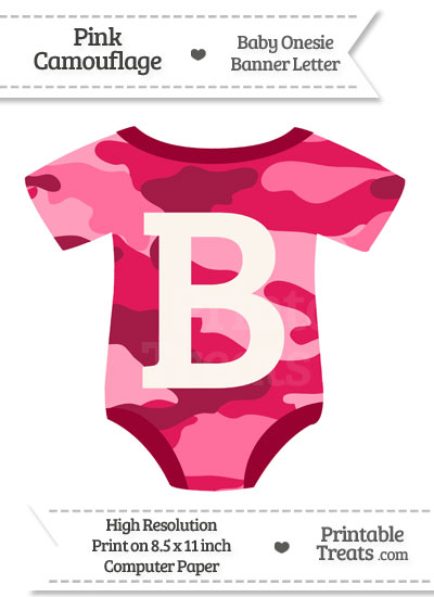 Pink Camouflage Baby Onesie Shaped Banner Letter B from PrintableTreats.com