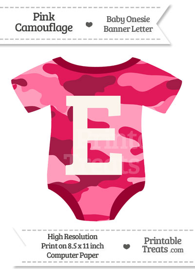 Pink Camouflage Baby Onesie Shaped Banner Letter E from PrintableTreats.com
