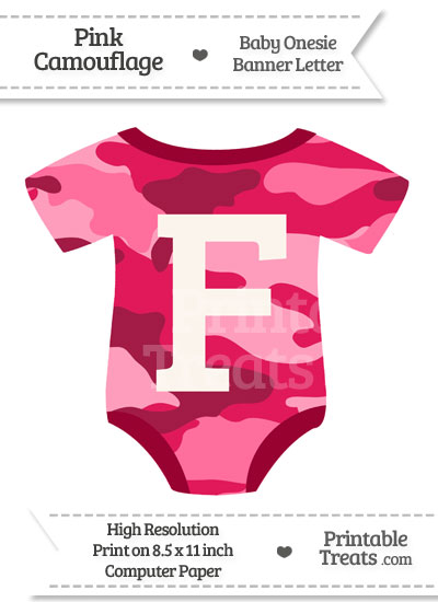 Pink Camouflage Baby Onesie Shaped Banner Letter F from PrintableTreats.com