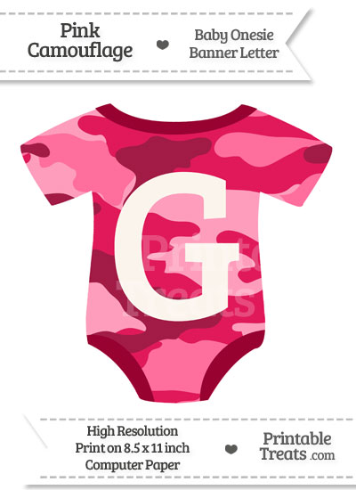 Pink Camouflage Baby Onesie Shaped Banner Letter G from PrintableTreats.com