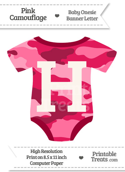 Pink Camouflage Baby Onesie Shaped Banner Letter H from PrintableTreats.com