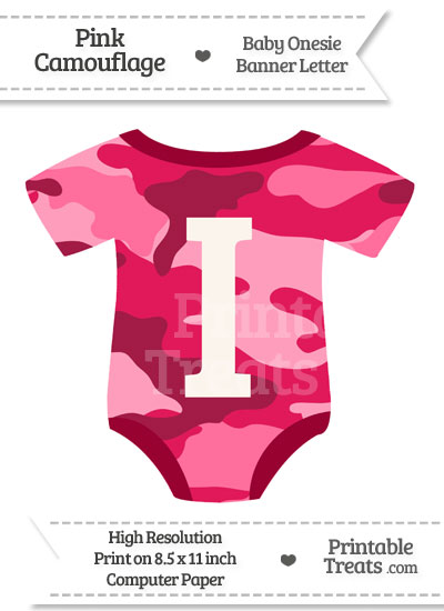Pink Camouflage Baby Onesie Shaped Banner Letter I from PrintableTreats.com