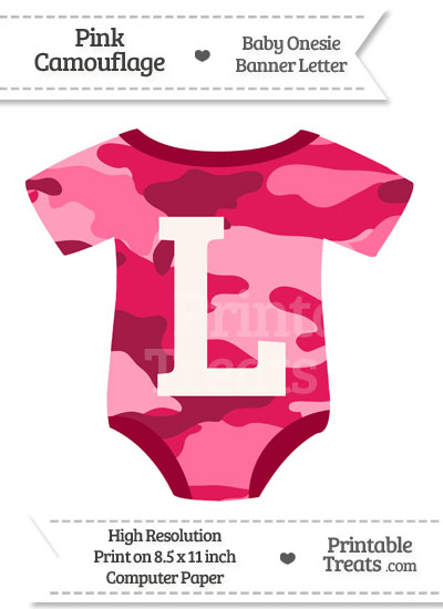 Pink Camouflage Baby Onesie Shaped Banner Letter L from PrintableTreats.com