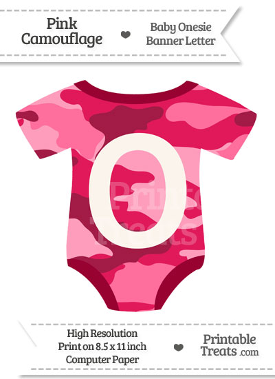 Pink Camouflage Baby Onesie Shaped Banner Letter O from PrintableTreats.com