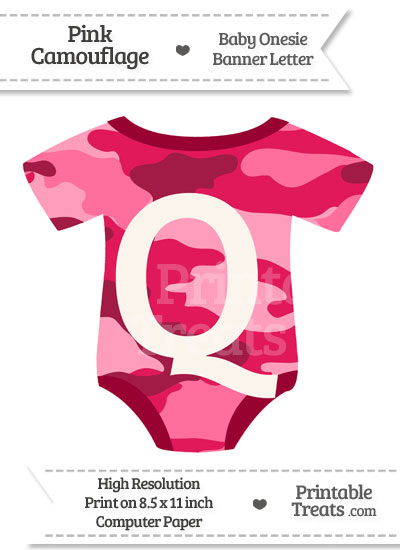 Pink Camouflage Baby Onesie Shaped Banner Letter Q from PrintableTreats.com