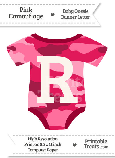 Pink Camouflage Baby Onesie Shaped Banner Letter R from PrintableTreats.com