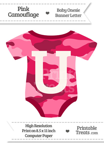 Pink Camouflage Baby Onesie Shaped Banner Letter U from PrintableTreats.com