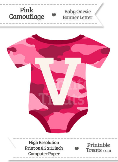 Pink Camouflage Baby Onesie Shaped Banner Letter V from PrintableTreats.com
