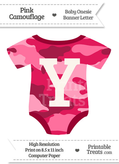 Pink Camouflage Baby Onesie Shaped Banner Letter Y from PrintableTreats.com