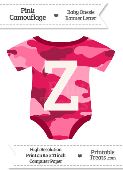 Pink Camouflage Baby Onesie Shaped Banner Letter Z from PrintableTreats.com