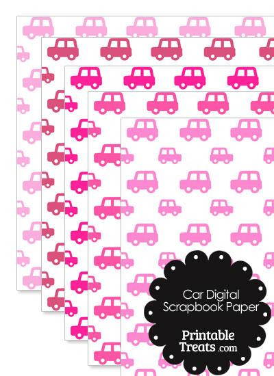 Pink Car Digital Scrapbook Paper from PrintableTreats.com