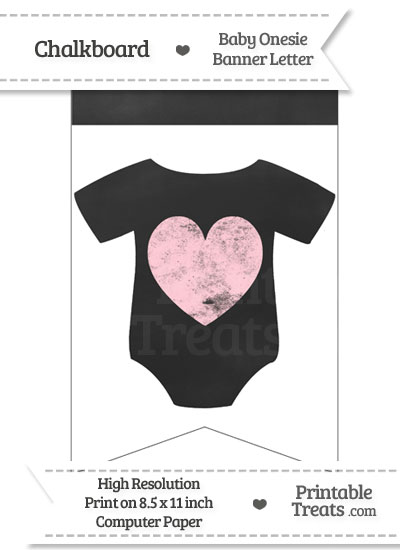 Pink Chalk Baby Onesie Bunting Banner Heart End Flag from PrintableTreats.com