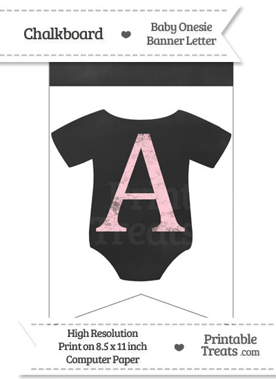 Pink Chalk Baby Onesie Bunting Banner Letter A from PrintableTreats.com