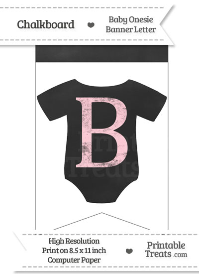 Pink Chalk Baby Onesie Bunting Banner Letter B from PrintableTreats.com