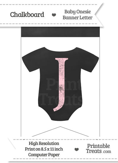 Pink Chalk Baby Onesie Bunting Banner Letter J from PrintableTreats.com