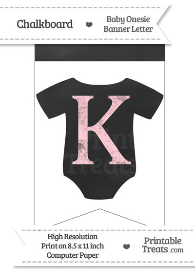 Pink Chalk Baby Onesie Bunting Banner Letter K from PrintableTreats.com