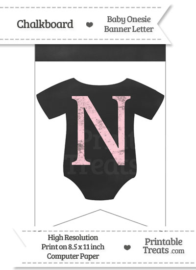 Pink Chalk Baby Onesie Bunting Banner Letter N from PrintableTreats.com