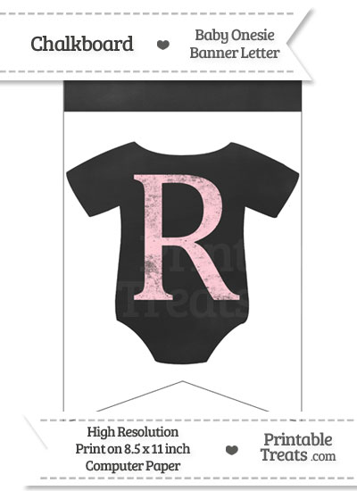 Pink Chalk Baby Onesie Bunting Banner Letter R from PrintableTreats.com