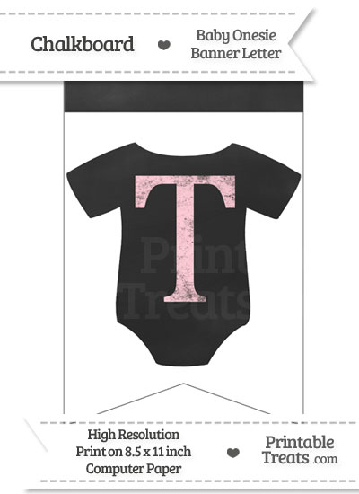 Pink Chalk Baby Onesie Bunting Banner Letter T from PrintableTreats.com