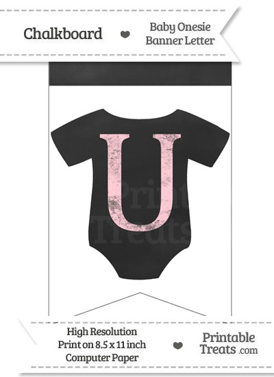Pink Chalk Baby Onesie Bunting Banner Letter U from PrintableTreats.com