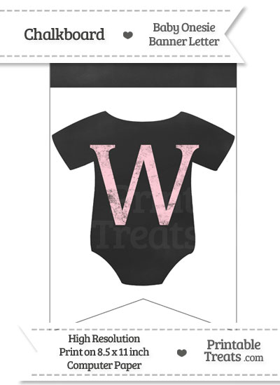 Pink Chalk Baby Onesie Bunting Banner Letter W from PrintableTreats.com
