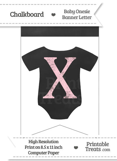 Pink Chalk Baby Onesie Bunting Banner Letter X from PrintableTreats.com