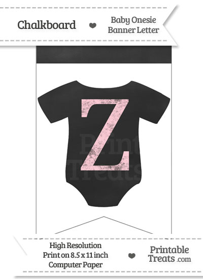 Pink Chalk Baby Onesie Bunting Banner Letter Z from PrintableTreats.com