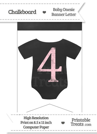 Pink Chalk Baby Onesie Bunting Banner Number 4 from PrintableTreats.com