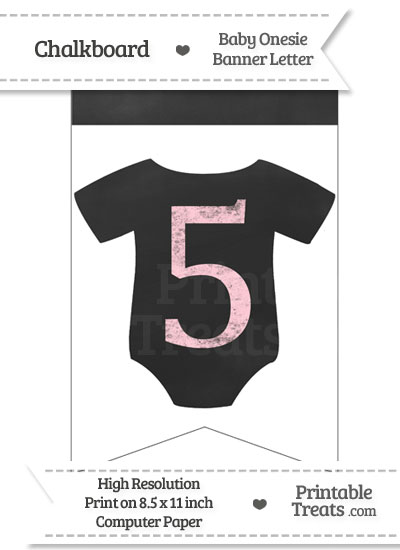 Pink Chalk Baby Onesie Bunting Banner Number 5 from PrintableTreats.com