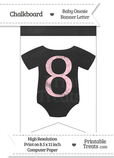Pink Chalk Baby Onesie Bunting Banner Number 8 from PrintableTreats.com