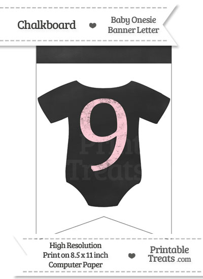 Pink Chalk Baby Onesie Bunting Banner Number 9 from PrintableTreats.com