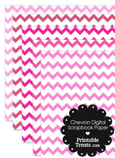 Pink Chevron Digital Scrapbook Paper from PrintableTreats.com