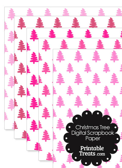 Pink Christmas Tree Digital Scrapbook Paper from PrintableTreats.com