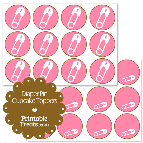 pink diaper pin cupcake topper
