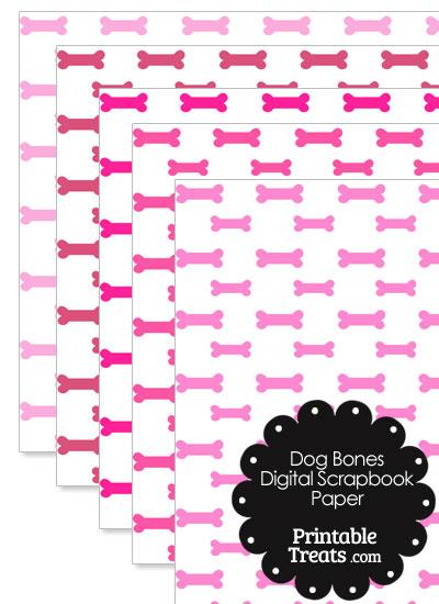 Pink Dog Bone Digital Scrapbook Paper from PrintableTreats.com