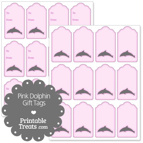 pink dolphin gift tags