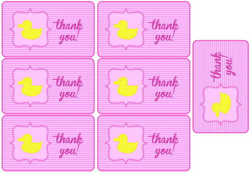 pink duck baby shower party favor tags