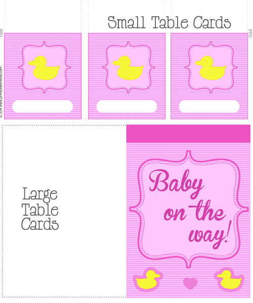 pink duck baby shower table cards