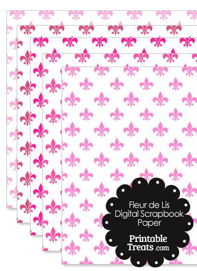 Pink Fleur de Lis Digital Scrapbook Paper from PrintableTreats.com