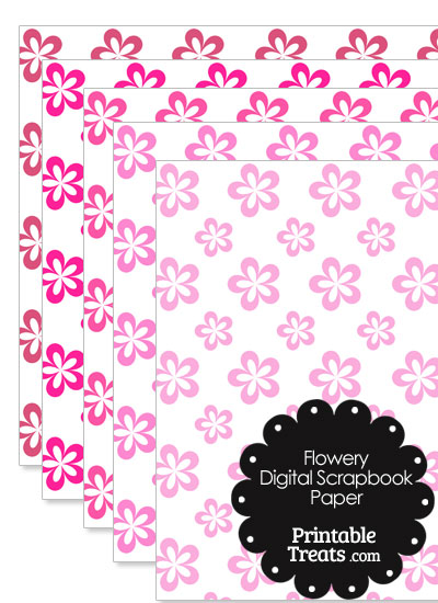 Pink Flower Digital Scrapbook Paper from PrintableTreats.com
