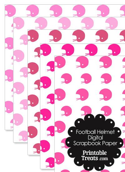 Pink Football Helmet Digital Scrapbook Paper from PrintableTreats.com
